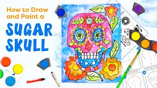 Draw & Paint a Sugar Skull Art Project for Kids