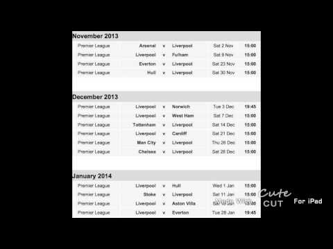Liverpool FC- Fixtures For Season 2013-2014