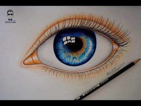 تعلم رسم العين بالالوان الخشبية How to draw realistic eye