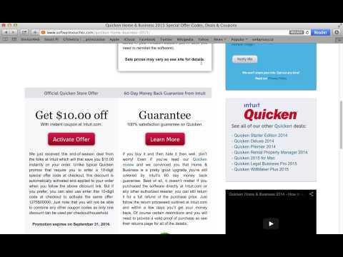 Quicken Home & Business 2015 – Applying a special offer code from SoftwareVoucher.com