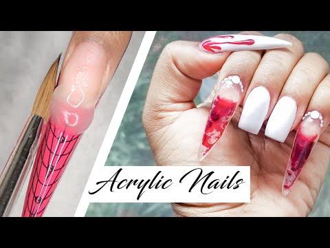 Gel nails - Liquid Vampire Teeth Acrylic Nails (FAIL)  LongHairPrettyNails
