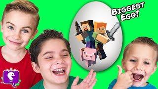 World's Biggest MINECRAFT Surprise Egg! TOYS + Monster Pig Attack. Video Gaming Fun HobbyKidsTV