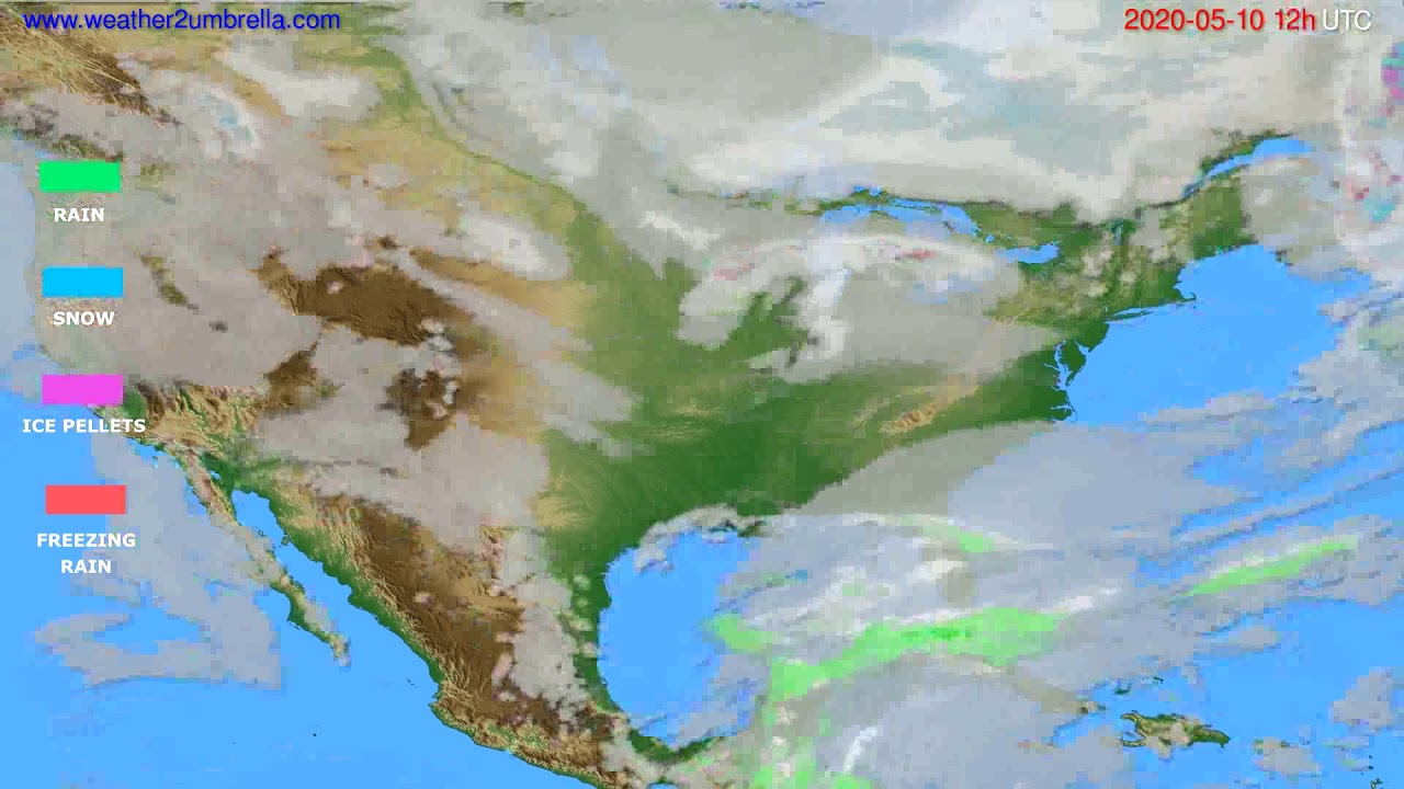 Precipitation forecast USA & Canada // modelrun: 00h UTC 2020-05-10