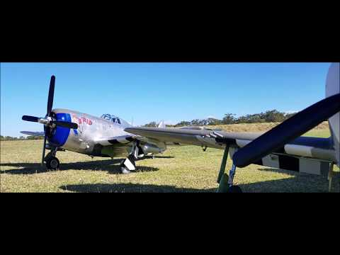 FMS 1500mm P 47 First 2 HD FPV Flights 15082018