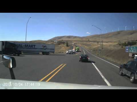 Dumbass truck driver forgets how to be patient and his it costs him.