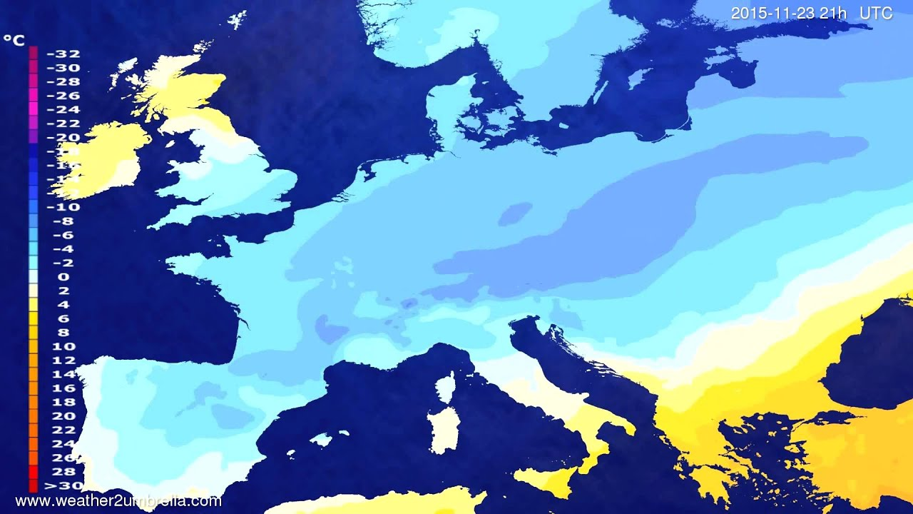 Temperature forecast Europe 2015-11-20