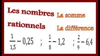 Maths 4ème - Les nombres rationnels Somme et Différence Exercice 21