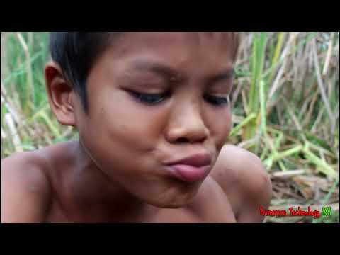 Primitive Technology - Eating delicious - Cooking shrimp on a rock