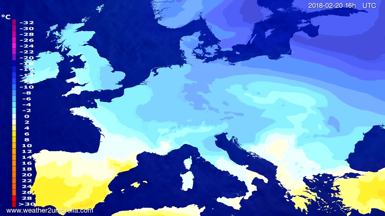 Temperature forecast Europe 2018-02-17