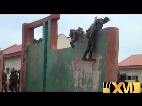 Nigeria Army recruit obstacles crossing competition