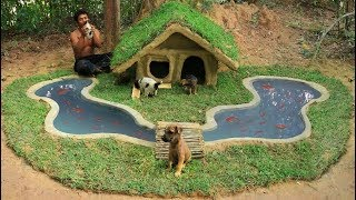 Rescue Abandoned Puppies & Build Mud House For Dog And Build Fish Pond For Red Fish