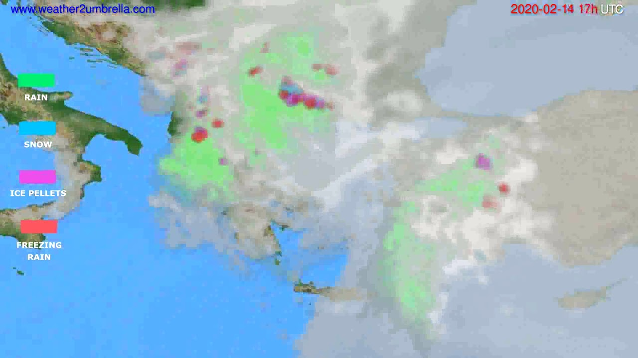 Precipitation forecast Greece // modelrun: 12h UTC 2020-02-13