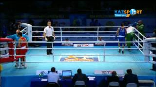 The world boxing championship.  Birzhan Zhakypov (49 kg) against Mokhamed Flissi