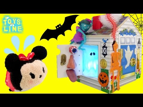 Tsum Tsum Disney Minnie Mouse and Mickey Mouse in Halloween Hunting House TOYS LINE