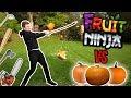 REAL LIFE FRUIT NINJA VS HALLOWEEN PUMPKINS (Slow Mo)