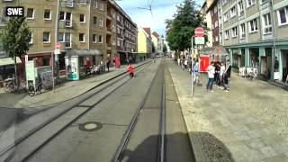 Germany tram ride. Erfurt line 1.