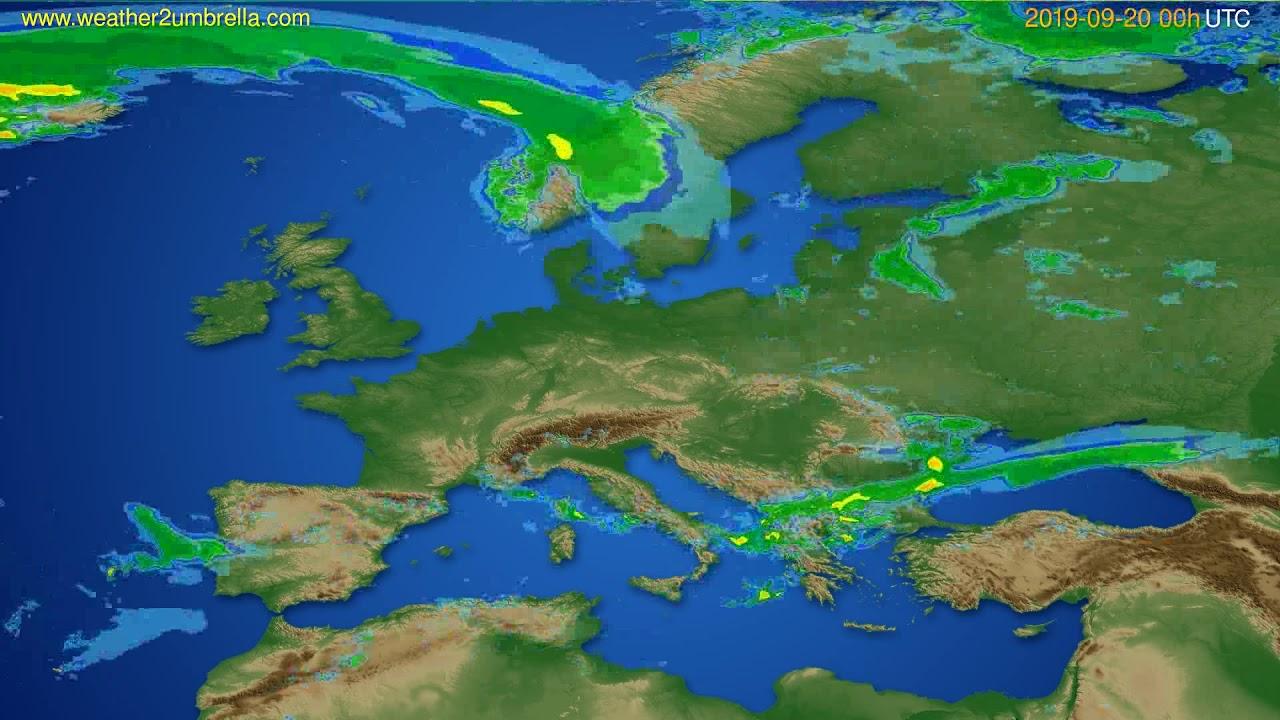 Radar forecast Europe // modelrun: 12h UTC 2019-09-19