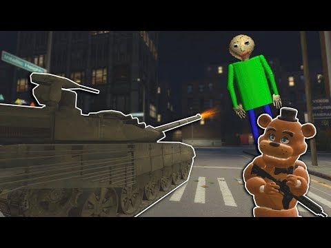 Garrys Mod - GIANT BALDI'S BASICS CITY TANK BATTLE! - Garry's Mod Multiplayer Gameplay - FNAF Gmod Survival