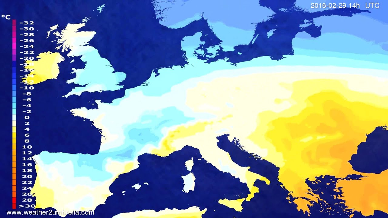 Temperature forecast Europe 2016-02-25