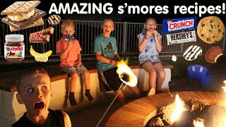 """One of our favorite things about our new house is the amazing fire pit in the back yard!  The kids just love roasting marshmallows and making s'mores.  In today's video, we decided to get creative and make the yummiest gourmet s'mores than we could come up with! We tried adding fruit, chocolate spreads, candy--pretty much anything makes the perfect s'more! Thanks for watching!  Don't forget to give us a THUMBS UP! Please subscribe to our channel & the kids' channels!http://bit.ly/FFPSubscribehttp://bit.ly/AlwaysAlyssaSubscribehttp://bit.ly/SubDudeItsDavidhttp://bit.ly/SubTwinTimehttp://bit.ly/SubMichaelsMPWant to send fan mail?  You can find our address in our """"about"""" section here on YouTube.Find pictures, updates, and more about Family Fun Pack: Facebook: http://bit.ly/FamilyFunFBTwitter: http://bit.ly/FamilyFunTwitterInstagram: http://bit.ly/FamilyFunIGMatt's Instagram: http://bit.ly/DaddyFunPackIGMatt's Twitter: http://bit.ly/DaddyFunPackAlyssa's Instagram: http://bit.ly/2dLKBE6David's Instagram: http://bit.ly/2dsNQAmZac's Instagram: http://bit.ly/2dL1JocChris' Instagram: http://bit.ly/2dL34vVMichael's Instagram: http://bit.ly/2cTen8zNew videos posted daily! Challenges, Epic Road Trips, Vlogs, Toys,  Clothes, Food, and lots of other fun things!  Family Fun Pack is a family of 6 kids: Alyssa, David, Zac & Chris, all born within 39 months of each other.  After those four, we had our precious son Michael and then our sweet new baby Owen!  Our motto is """"fun with the family, every day""""! We like to do videos with Play Doh, Costumes, Superheros, Hot Wheels, Surprise Eggs, holidays like Easter, Halloween & Christmas, we have fun birthday parties, we love indoor playgrounds and outdoor playgrounds, bounce houses, parks, water parks, Disneyland, Legoland, Legos, water toys, Thomas trains, play houses, forts, mess making, trying new foods, pranks, going crazy down the stairs, going to the beach, swimming, pools, Barbies, languages, sports, soccer, makeup, Alyssa loves Justi"""