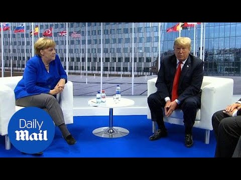 Trump and Merkel meet during NATO summit in Brussels - Daily Mail
