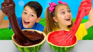 Sasha and Watermelon Slime Challenge
