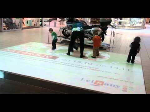 Interactive floor in shopping mall Letňany in Prague