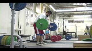 Weightlifting training footage of
