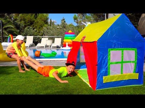 Катя и Макс НЕ ПОДЕЛИЛИ ЕДУ! Кто Во ВСЕМ ВИНОВАТ? /Kids have fun with children's play tent near pool (видео)