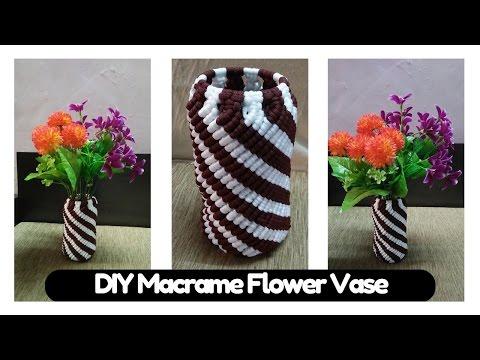 come realizzare un vaso di fiori in macramè