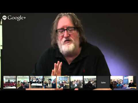 students - Gabe Newell talks to students.