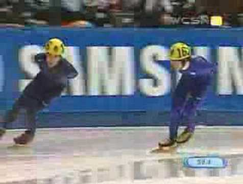 Apolo Ohno - During 1000 meter B finals, competitors Apolo Ohno of the USA and Ho-Suk Lee of Korea inexplicably skate around the short track at a slow rate of speed. The ...