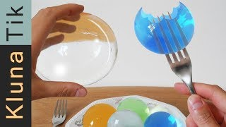 WATER BALLS (orbeez) & GLITTER for LUNCH! Kluna Tik | ASMR sounds no talk JUMBO polymer experiment