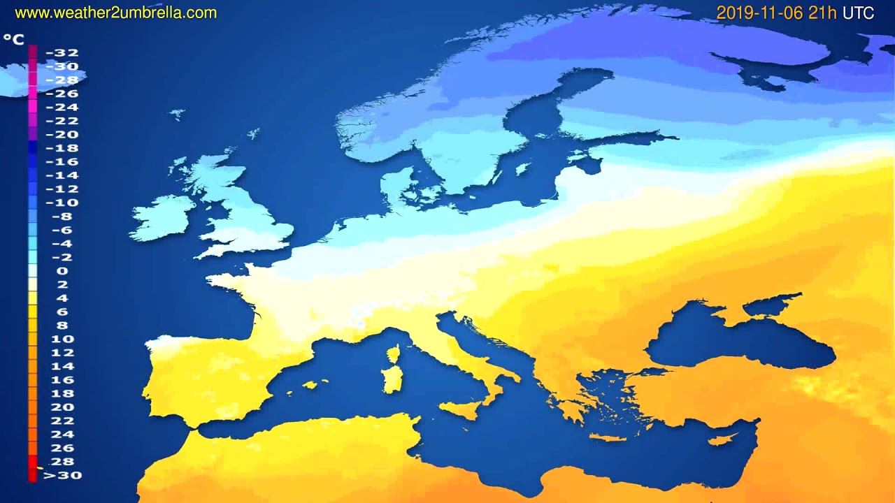 Temperature forecast Europe // modelrun: 00h UTC 2019-11-05