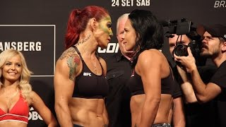 UFN 95 Weigh-Ins: Cris Cyborg vs. Lina Lansberg Staredown by MMA Fighting