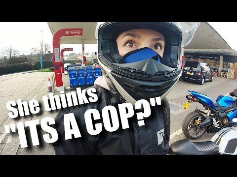 Biker Girl FOLLOWED by UNMARKED Police Motorcycle?