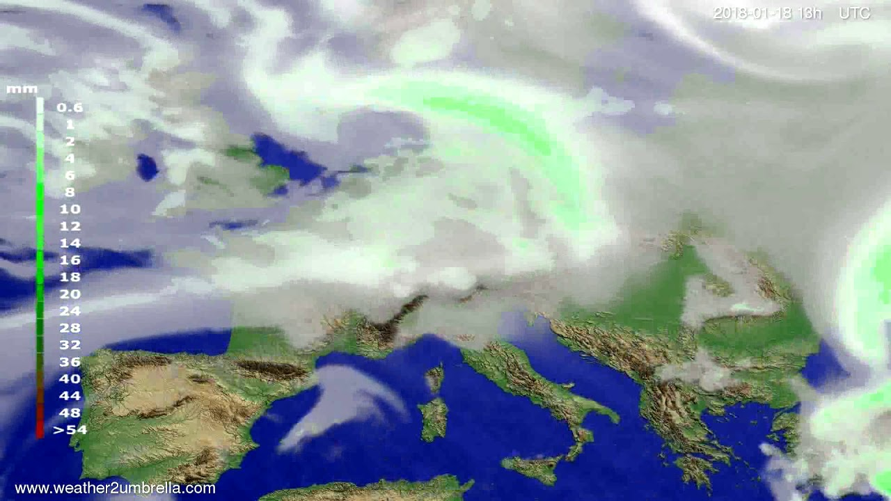Precipitation forecast Europe 2018-01-15