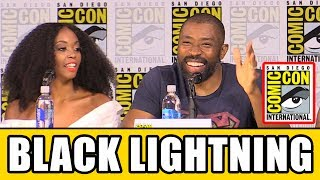 Black Lightning Comic Con panel news & highlights with Cress Williams, Nafessa Williams, China Anne McClain, Christine Adams, Mara Brock Akil & Salim Akil.Subscribe for more! ► http://bit.ly/FlicksSubscribeN.B. Footage, clips, previews, trailers & sneak peeks shown at Comic Con panels are not included in this video, as these are not allowed to be filmed. RELATED VIDEOS--------------Supergirl Season 3 Comic Con Panel ► http://youtu.be/StOs-GxkwB0The Flash Season 4 Comic Con Panel ► http://youtu.be/5TueDxwTYacArrow Season 6 Comic Con Panel ► http://youtu.be/MpUM3nUV4cULegends of Tomorrow Season 3 Comic Con Panel ► http://youtu.be/_otrQqwg1uIPLAYLISTS YOU MIGHT LIKE------------------------DC ► http://bit.ly/DCVideosMarvel ► http://bit.ly/MarvelVideosFox Marvel Movies ► http://bit.ly/FoxMarvelVideosMovie Deleted Scenes & Rejected Concepts ► http://bit.ly/MovieDeletedScenesEaster Eggs ► http://bit.ly/EasterEggVideosAmazing Movie Facts ► http://bit.ly/ThingsYouDidntKnowVideosPixar ► http://bit.ly/PixarVideosDisney Animation ► http://bit.ly/DisneyAnimationVideosStar Wars ► http://bit.ly/StarWarsVidsSOCIAL MEDIA & WEBSITE----------------------Twitter ► http://twitter.com/FlicksCityFacebook ► http://facebook.com/FlicksAndTheCityGoogle+ ► http://google.com/+FlicksAndTheCityWebsite ► http://FlicksAndTheCity.comThanks to Comic Con International http://www.comic-con.org/Jefferson Pierce (Cress Williams) is a man wrestling with a secret. As the father of two daughters and principal of a charter high school that also serves as a safe haven for young people in a New Orleans neighborhood overrun by gang violence, he is a hero to his community. Nine years ago, Pierce was a hero of a different sort. Gifted with the superhuman power to harness and control electricity, he used those powers to keep his hometown streets safe as the masked vigilante Black Lightning. However, after too many nights with his life on the line and seeing the effects of the damage and loss that his alter ego was inflicting on his family, he left his superhero days behind and settled into being a principal and a dad. Choosing to help his city without using his superpowers, he watched his daughters Anissa (Nafessa Williams) and Jennifer (China Anne McClain) grow into strong young women, even though his marriage to their mother, Lynn (Christine Adams), suffered. Almost a decade later, Pierce's crime-fighting days are long behind him-or so he thought. But with crime and corruption spreading like wildfire and those he cares about in the crosshairs of the menacing local gang The One Hundred, Black Lightning returns-to save not only his family but also the soul of his community. Based on the characters from DC, Black Lightning is from Berlanti Productions and Akil Productions in association with Warner Bros. Television with executive producers Greg Berlanti (Arrow, DC's Legends of Tomorrow, The Flash, Supergirl), Salim Akil and Mara Brock Akil (Being Mary Jane, The Game, Jumping the Broom, Girlfriends), and Sarah Schechter (Arrow, DC's Legends of Tomorrow, The Flash, Supergirl). Black Lightning premieres midseason on The CW.