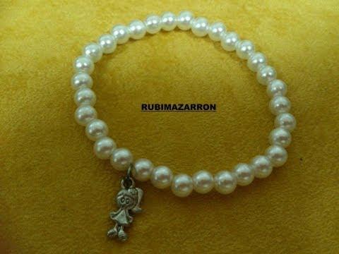 DIY: Como hacer pulsera brazalete elastica con perlas.