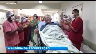 Curados da Covid-19 comemoram saída do hospital