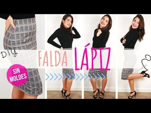 DIY Cómo hacer una FALDA TIPO LÁPIZ fácil, sin moldes y en 60 minutos!  Pencil Skirt in 60 min!