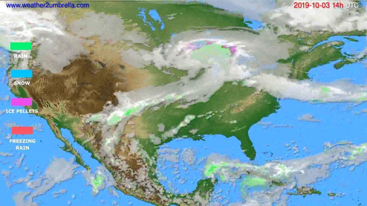 Precipitation forecast USA & Canada // modelrun: 00h UTC 2019-10-01