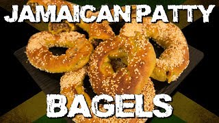 The Sauce Boss himself, Harley MF'ing Morenstein teaches you how to make Jamaican Patty Bagels, and they are gosh darn delicious! Tools 1 Chef knife 1 Cutting board 1 Large pot1 Oven tray Parchment paper3 Mixing bowlsIngredients1/4 cup warm water2 Tbsp vegetable oil1 Tbsp yeast4 Cups of flour3 Tbsp sugar15  Tsp salt3 Tbsp curry powder1/2 diced onion2 diced scotch bonnets1 Tbsp diced green onions2 Tbsp minced garlic1/2 LB ground beef1 Tsp jerk sauce1 Tbsp thyme1 Tsp curry powder1 Tbsp all spicesalt and pepper1/2 cup of bread crumbsEgg Wash1 Cup of HoneyStep 1In a mixing bowl add 1 1/4 cup warm water, 2 Tbsp vegetable oil and 1 Tbsp yeast  then Mix together 4 Cups of flour, 3 Tbsp sugar, 15  Tsp salt, 3 Tbsp curry powder. Once the yeast has activated add the flour mixture and mix until a dough is formed, and then cover it, and let sit for 30 minutes until the dough rises.Step 2In a pan, add 2 Tbsp vegetable oil, 1/2 diced onion, 2 diced scotch bonnets, 1 Tbsp diced green onion and 2 Tbsp minced garlic then saute for 5 minutes. Once vegetables are tender add 1/2 LB ground beef, 1 Tsp jerk sauce, 1 Tbsp thyme, 1 Tsp curry power 1 Tbsp all spice, salt and pepper cook meat for 10 minutes. Once meat is cooked add 1/2 cup of bread crumbs and mix well.Step 3Roll out bagel dough on a floured surface  to about an 1/2 an inch thick then cut into rectangles and stuff with meat filling then egg wash one end and fold the dough over sealing it closed. Then form a bagel with the dough conceding each end.Step 4 Boil 4 Quarts of water then add 1 cup of honey. Boil each bagel for 1 to 2 minutes each side then place on a tray lined with parchment paper sprinkle with sesame seeds and bake in the oven at 475 degrees Fahrenheit for 15 to 20 minutes.Check out Harley's Video Diaries - http://www.youtube.com/HarleyMoreWe have a #YouTubeGaming Channel:http://www.YouTube.com/OriginalGamerShowFollow the guys!@harleyplays @princewallick @lemme_kno @epicgrossguy @cooldan @itsmikesantosLIKE/FAVORIT