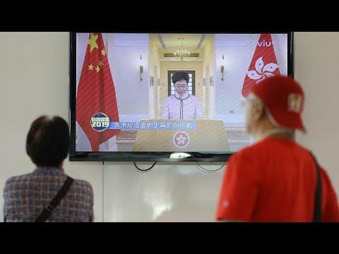 Διέκοψαν την ομιλία της επικεφαλής του Χονγκ Κονγκ