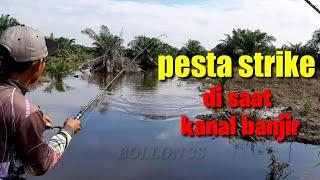 SERU BANGET.!! Casting gabus super mudah di spot kanal banjir