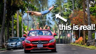 Video Leaping Over a MOVING CAR Extreme Gymnastic Dares *don't try this* MP3, 3GP, MP4, WEBM, AVI, FLV Juni 2019