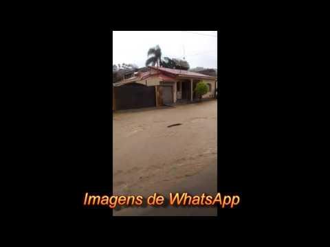 Chuva forte volta a alaga ruas e a pracinha e rio Pardo transborda novamente.
