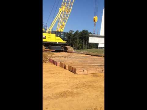 crane mats with crane doing lifts and bridge work