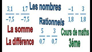 Maths 3ème - Les nombres rationnels Addition et Soustraction Exercice 21