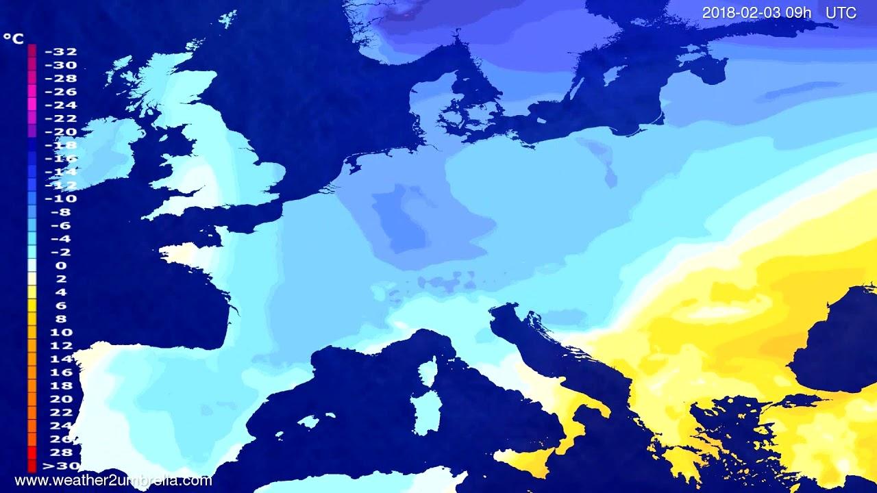 Temperature forecast Europe 2018-01-30
